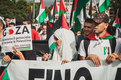 People protesting against Gaza strip bombing in Milan, Italy Royalty Free Stock Images