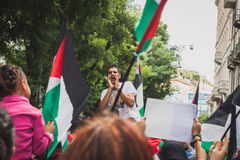 People protesting against Gaza strip bombing in Milan, Italy Stock Photo