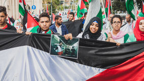 People protesting against Gaza strip bombing in Milan, Italy Stock Image