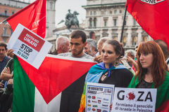 People protesting against Gaza strip bombing in Milan, Italy Stock Photos