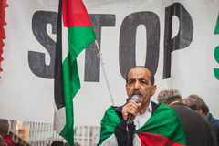 People protesting against Gaza strip bombing in Milan, Italy Royalty Free Stock Photos
