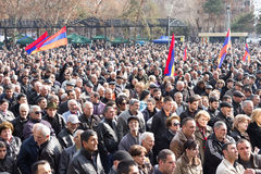 People protesting against government. YEREVAN, ARMENIA - March 1 , 2014: People protesting against government and demanding that the government finally expose Royalty Free Stock Photo
