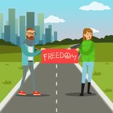 People protesting with banner demanding for political freedom flat vector illustration Stock Image