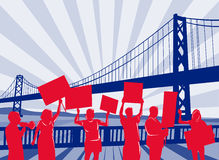 People protesting with bridge Stock Images