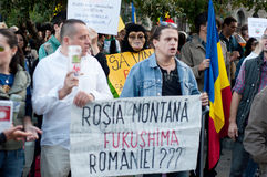 People protesting in Bucharest Royalty Free Stock Photos