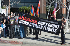 People protesting at the Consulate of Azerbaijan in Memory of G. LOS ANGELES,CA - FEBRUARY 23: People protesting at the Consulate of Azerbaijan in Memory Stock Images