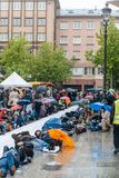 People protesting manifestation die-in against immigration policy and border management. STRASBOURG, FRANCE - APR 26 2015: Die-in protest against immigration royalty free stock images