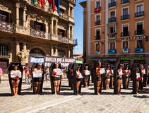 People protesting protest against bullfighting Royalty Free Stock Photos