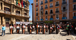 People protesting rotest against bullfighting  in Pamplona Stock Photos