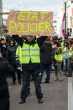 People protesting in the street against police violence and the resignation of E. Macron, the president of the french republic. Mulhouse - France - 9 February stock images