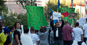 People protesting in University Square, Bucharest Stock Photos