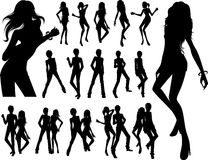 People in pub. Silhouette of people in pub or dancing Royalty Free Stock Images