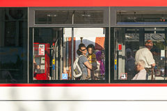 People in a public bus in Erfurt, Germany. Royalty Free Stock Photo
