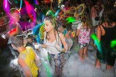 People in a public open foam party in Side in 2017 stock images