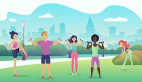 People in the public park doing fitness. Sports outdoor activities flat design vector illustration. Women doing yoga. Stretching, fitness outside stock illustration