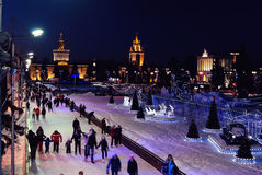 People on a Public Skating Rink in Moscow stock images