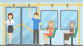 People in public transport. vector illustration