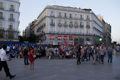 People on Puerta del Sol square in Madrid, Spain Stock Photos