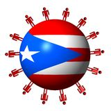 People and Puerto Rico flag sphere Royalty Free Stock Photos