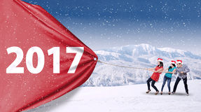 People pull 2017 in winter day Royalty Free Stock Photo