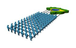 People pulling Brazil map flag Royalty Free Stock Photo