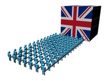 People pulling British flag cube Royalty Free Stock Image