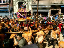 People pulling the chariot in Bisket Jatra royalty free stock images