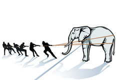 People pulling elephant. Illustration of a group of people pulling on a rope attached to a large elephant Stock Images