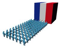People pulling French flag cube Royalty Free Stock Photos