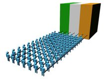 People pulling Ireland flag cube Royalty Free Stock Image