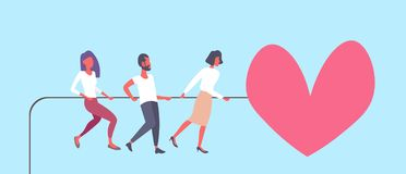 People pulling rope big pink heart shape happy valentines day holiday celebrating concept successful teamwork strategy. Flat horizontal vector illustration vector illustration