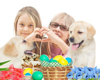 People and  puppy Stock Photography