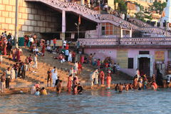 People purify themselves from sins in the Ganges in the holy city of Haridwar Stock Images