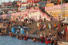 People purify themselves from sins in the Ganges in the holy city of Haridwar. India Royalty Free Stock Photos
