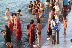 People purify themselves from sins in the Ganges in the holy city of Haridwar. India Royalty Free Stock Images