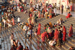 People purify themselves from sins in the Ganges in the holy city of Haridwar. India Stock Photo