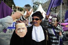 People in Purple (Popolo Viola). Activist of the People in Purple (Popolo Viola) movement against the italian prime minister Silvio Berlusconi and his Stock Image