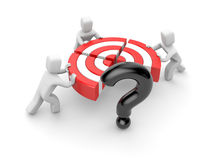 People pushing target piece part to connect into one. Instead of one part target is the question.Team success. Reach goal Royalty Free Stock Photo