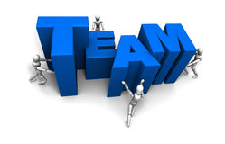 People Pushing Together TEAM Blue Stock Photography