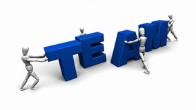 People Pushing Together the Word 'TEAM' Stock Images