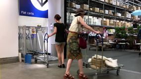 People pushing trolley for shopping. Inside Ikea store stock video