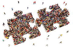 People putting the pieces together concept Royalty Free Stock Photo