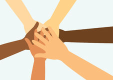 People putting their hands together vector Royalty Free Stock Photography