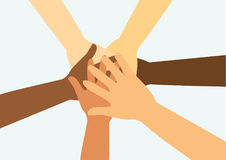 People putting their hands together vector Royalty Free Stock Photos