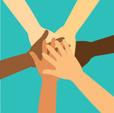 People putting their hands together vector Stock Photo