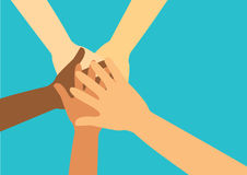People putting their hands together vector Stock Photos
