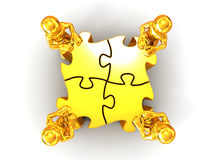 People with puzzle Stock Images