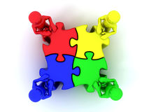 People with puzzle Stock Photos