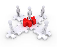 People on puzzle pieces and a leader. Four 3d people are standing on puzzle pieces and one higher Royalty Free Stock Images