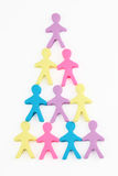 People pyramid. Color people pyramid made from playdough vector illustration